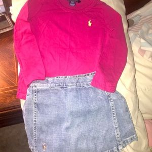Ralph Lauren 3t jean skirt & shirt